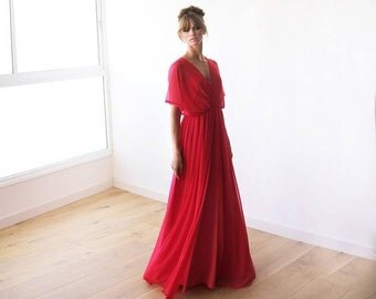 Vintage Look Bridal Wedding Party Dress in Coral Red Made to Order