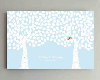 250 Guest Wedding Guest Book Wood Two Double Tree Wedding Guestbook Alternative Guestbook Poster Wedding Guestbook Poster - Baby Blue