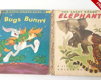 Vintage 1940s Little Golden Books Bugs Bunny and the Saggy Baggy Elephant