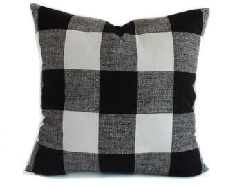 Plaid pillow cover, 16x16, Black white pillow, Throw pillow, Decorative pillow, Accent pillow, Toss pillow, Couch cushion, Sofa pillow