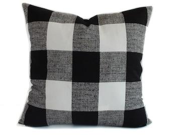 Plaid pillow cover, 16x16, Black white pillow, Throw pillow, Decorative pillow, Accent pillow, Toss pillow, Couch cushion, Sofa pillow