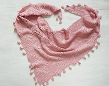 Cotton crochet shawl, pink shawl, boho style summer wrap, women's scarf