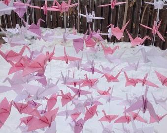 40 Strands - Set of 6- Crane Backdrop - White Pink Lilac- Origami cranes - Wedding Backdrop - Photo backdrop