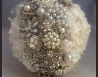 Stripe brooch bouquet. Strip bridal boquet. Silver and pearl brooch bouquet.
