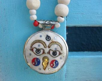 Buddha Eyes Tibetan Pendant, Ethnic Chic Necklace
