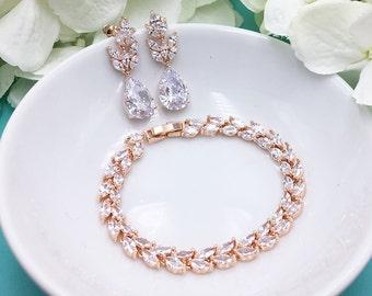 Rose Gold Bridal Earrings Set, Wedding Earrings and Bracelet, Rose Gold Jewelry, Rose Gold Earrings Bracelet Jewelry469732224
