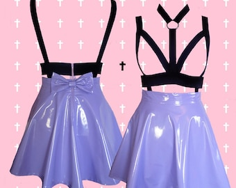 PASTEL goth LAVENDER harness PVC skater skirt with removable bow
