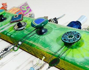 Necklace holder/ jewelry storage reclaimed wood /wall coat rack /floating nightstand /makeup organizer wall vanity 6 colorful hooks 5 knobs