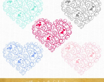 Valentine Swirl Heart Clipart - INSTANT DOWNLOAD - .png & .ai files