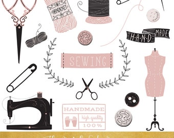 Vintage Sewing Clipart Set - INSTANT DOWNLOAD - 25 .PNG Images