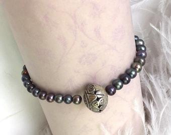Bracelete from small grey freshwater pearls  - balisilver
