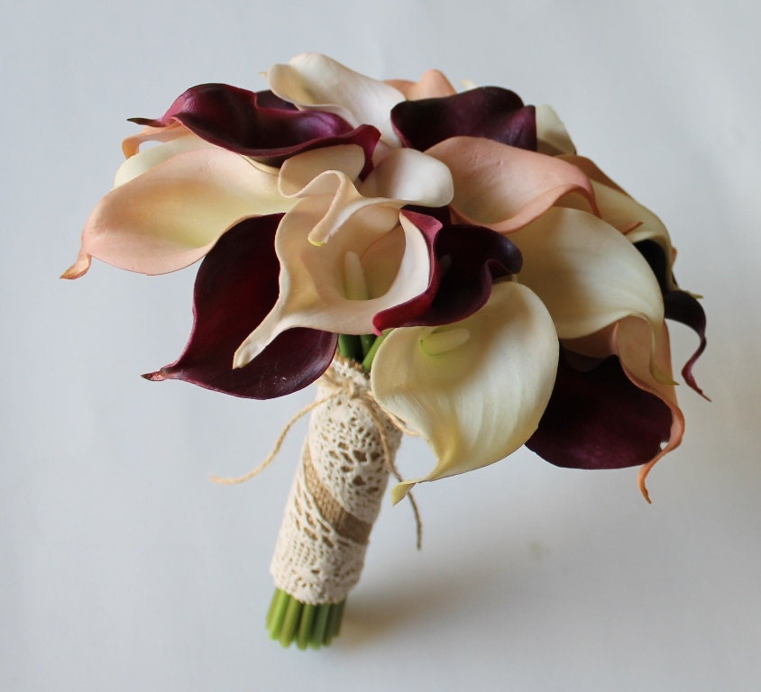 Wedding Bouquet Cranberry Calla Lily Real Touch Bridal Bouquets