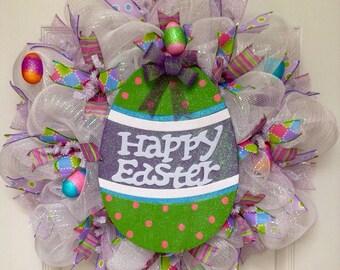 Glittering Pastel Easter Egg Deco Mesh Wreath
