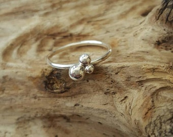 Sterling and Fine Silver bobble Ring