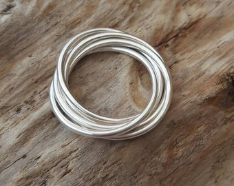 Sterling Silver 5 band Entwined Ring