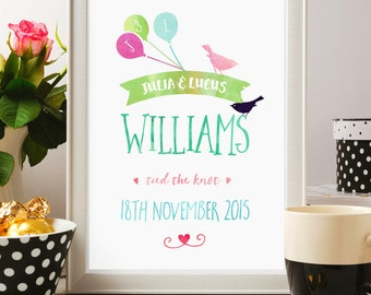Personalised Wedding Print, Anniversary Gift, Custom Couples Print, Paper Anniversary, A4 (Unframed) Gift