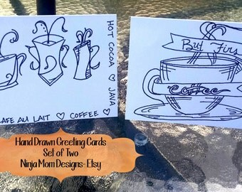 Hand Drawn Greeting Cards- Zentangle- Coffee - Set of 2