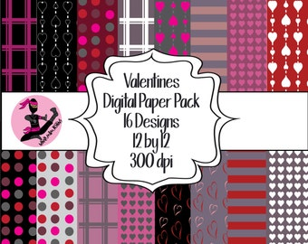 Valentines Digital Paper Pack- 16 Sheets- Instant Download