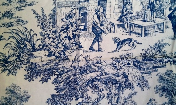 6 Yards Light Navy Blue And Cream Pastoral Toile House N Home