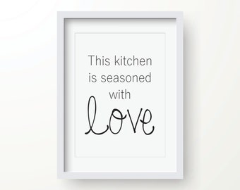 This Kitchen is Seasoned With Love PRINTABLE Instant Download 8x10 and 11x14 inch jpgs