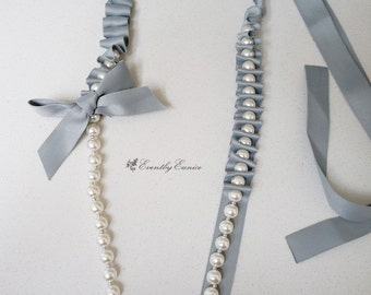 Pear with blue ribbon sash necklace, Long Necklace, Lariat Necklace, unique necklace, luxury necklace, ELEGANCE
