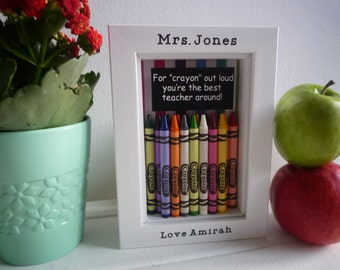Teacher gift end of term teaching assistant unique kindergarten gift thank you teacher childminder nursery personalised crayola crayon frame