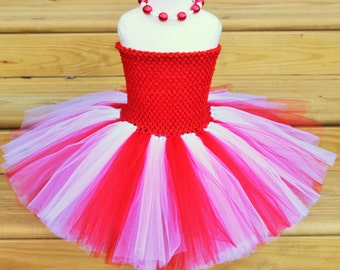 Candy Cane Tutu Dress, Valentines Day Tutu Dress - JTW15106 - Fully lined top sizes 4T and up