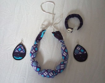 Set of African Print Necklace, Earrings and Bracelet/ African print/ Ankara Jewelry