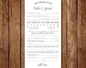 Printable- Wedding Reception Mad Libs