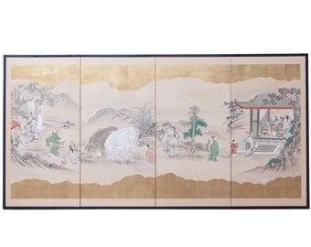 19th Century Japanese Four Panel Kano School Painting Edo Screen