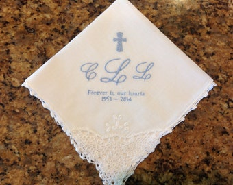 In Memory custom embroidered lace handkerchief.