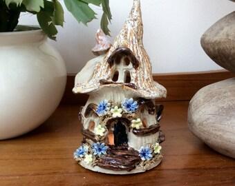 Fairy house tea light holder, ceramic candle holder, night light.