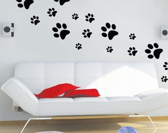 Paws wall decals - Dog Paw Decal - Paw decal Pattern - Paws wall stickers - Paw decor- Dog Wall Decor - Dog Paw prints - Pet lovers