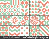Mint and Coral Digital Paper