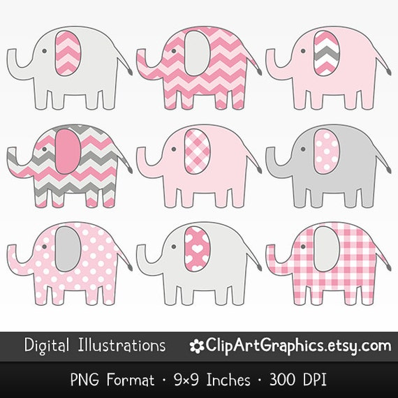 Pink Elephant Clip Art Cute Animal Clipart by ClipArtGraphics