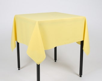 Lemon Yellow Square Tablecloth   Made From Polyester Fabric Not Cotton.