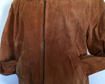 SUEDE Leather Bomber Jacket Camel Women's Caramel Color Lord & Taylor Size Large (14)