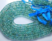 13.5 Inches,  Alexandrite Green Color NATURAL Emerald Faceted Rondelles, Super HUGE SIZE 4-5MM