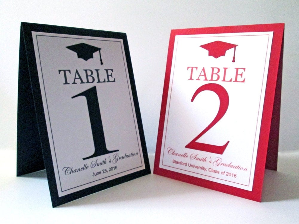 5 graduation table numbers graduation table cards college for Table numbers
