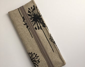 jw tract holder jw ministrytri fold tract holder service organizer tan and black dandelion fabric made to order - Field Service Organizer