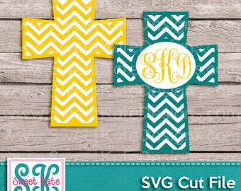 Chevron Cross Monogram Option SVG JPG PNG {Can be a Scrapbook Die Cut or Heat Transfer Vinyl Cut} - Instant Download Sweet Kate Designs
