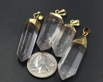 Clear Quartz Pendant Quartz Crystal Necklace Pendant Gold Plated Natural Clear Rock Quartz Crystal Point Gemstone Pendant 1piece QP