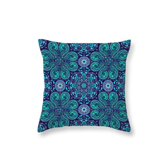 Etsy Teal Throw Pillow : Items similar to Throw Pillow Boho Chic Purple Teal Mandala Lace on Etsy