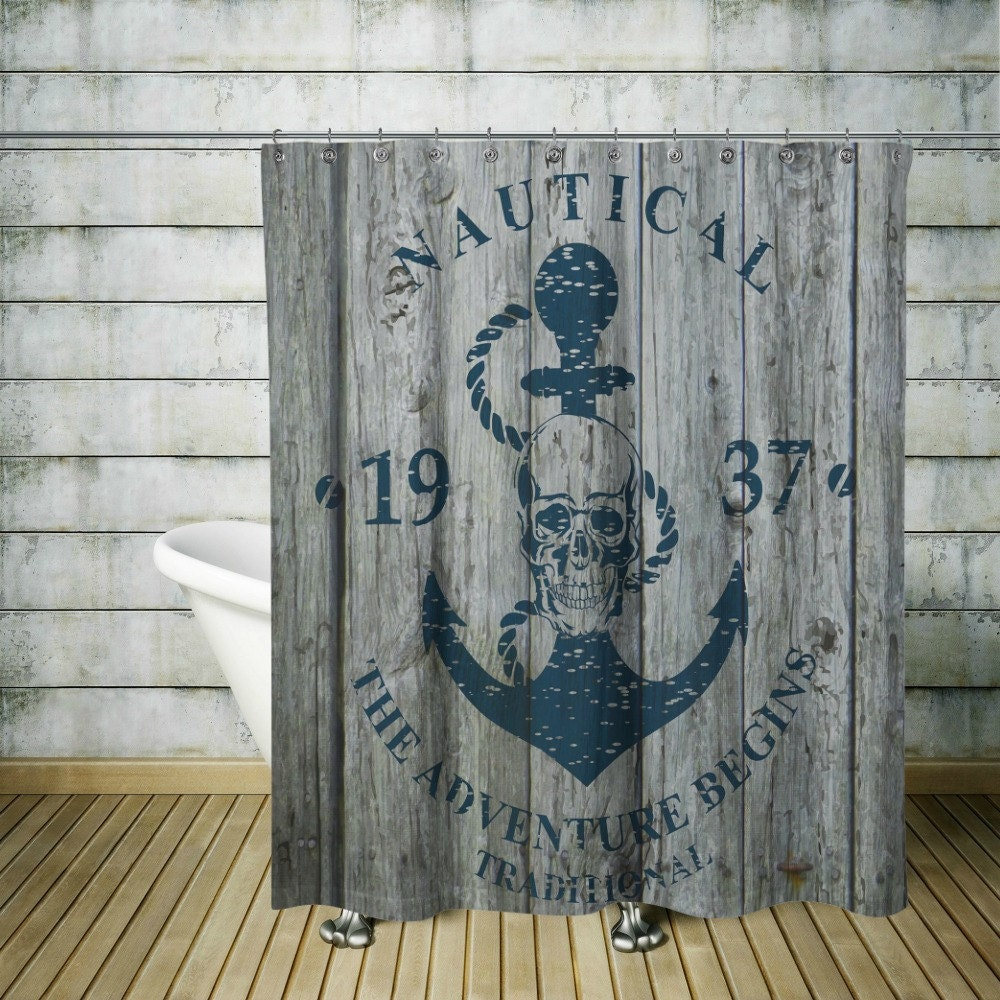 Rustic Nautical Bathroom Decor: Nautical Shower Curtain-Faux Wood Skull Advertising-Anchor