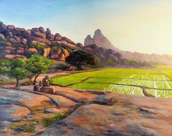 Hampi Landscape. Hampi India. India Painting. Travel Art