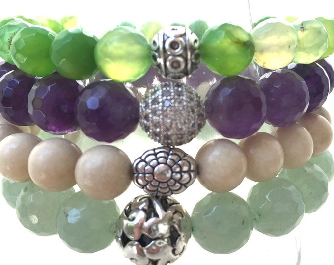 The Summer Garden Stack Stone Bracelets,  Amethyst, Green Agates and Fossil Gemstone Combination.