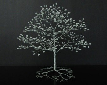 Made to Order- Custom Wire Tree Sculpture w/ beads - Tree Wedding Cake Topper - Wire Bonsai Tree Sculpture