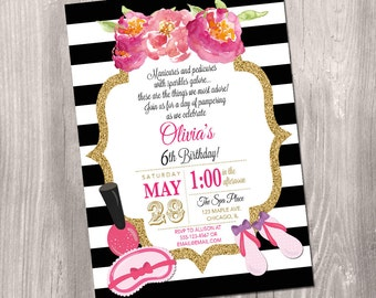 spa party invitation  etsy, invitation samples