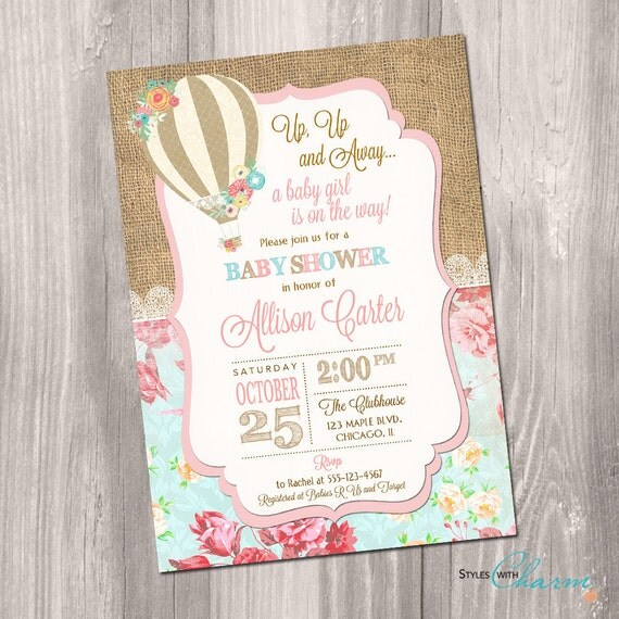 Hot Air Balloon Baby Shower Invitation Up Up And Away Baby