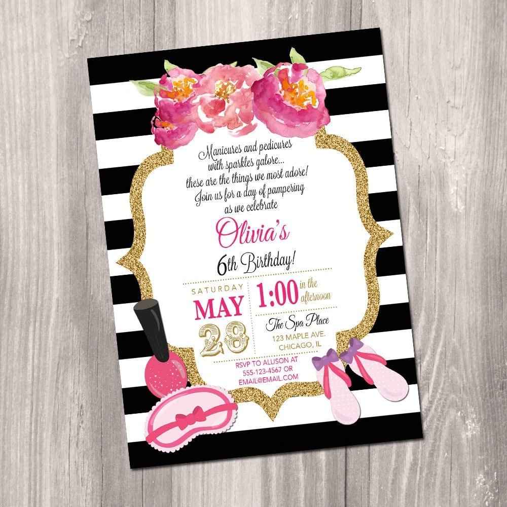 Spa party invitation spa birthday party invite Manicure – Girls Spa Birthday Party Invitations
